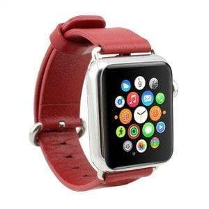 Luxe Classic Lederen armband voor de Apple Watch rood-014