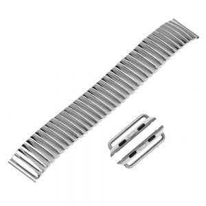 Rvs Elastische Horlogeband Band Armband met Link Adapter voor Apple Watch 42mm zilver kleurig-003