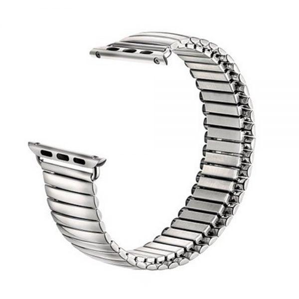 Rvs Elastische Horlogeband Band Armband met Link Adapter voor Apple Watch zilver kleurig-004
