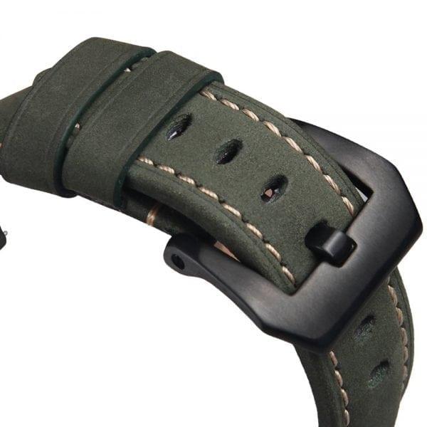 Leren Bandje Voor de Samsung Gear S3 Classic Frontier - Leren Armband Polsband Groen zwarte sluiting-002