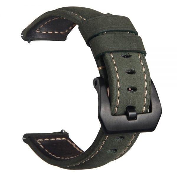 Leren Bandje Voor de Samsung Gear S3 Classic Frontier - Leren Armband Polsband Groen zwarte sluiting-003