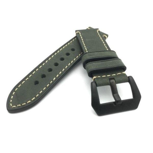 Leren Bandje Voor de Samsung Gear S3 Classic Frontier - Leren Armband Polsband Groen zwarte sluiting-004