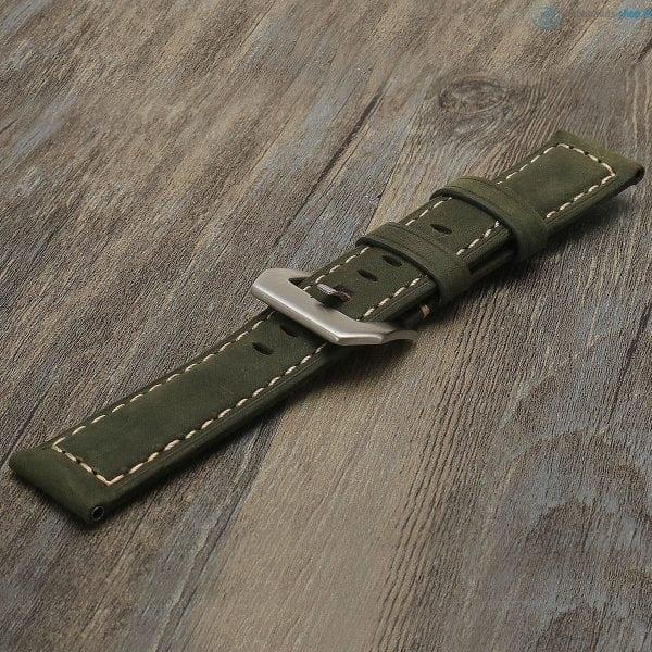 Leren Bandje Voor de Samsung Gear S3 Classic Frontier - Leren Armband Polsband Groen zwarte sluiting-005