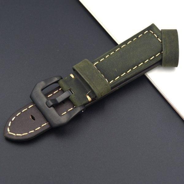 Leren Bandje Voor de Samsung Gear S3 Classic Frontier - Leren Armband Polsband Groen zwarte sluiting-006