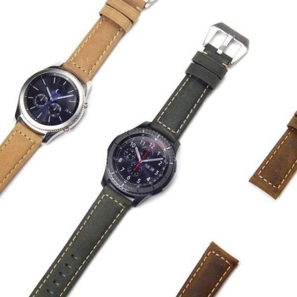 Leren Bandje Voor de Samsung Gear S3 Classic Frontier - Leren Armband Polsband Groen zwarte sluiting-007