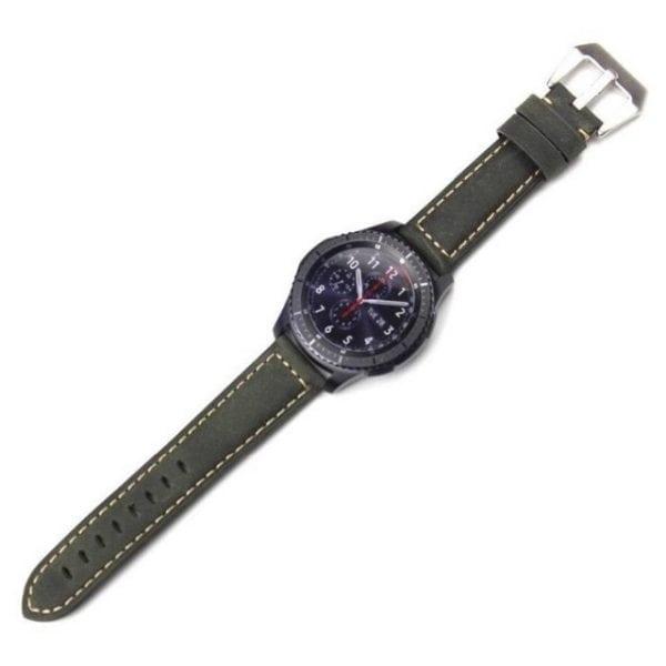 Leren Bandje Voor de Samsung Gear S3 Classic Frontier - Leren Armband Polsband Groen zwarte sluiting-009