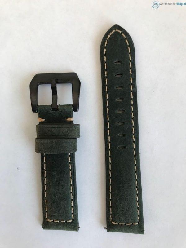 Leren Bandje Voor de Samsung Gear S3 Classic Frontier - Leren Armband Polsband Groen zwarte sluiting-010