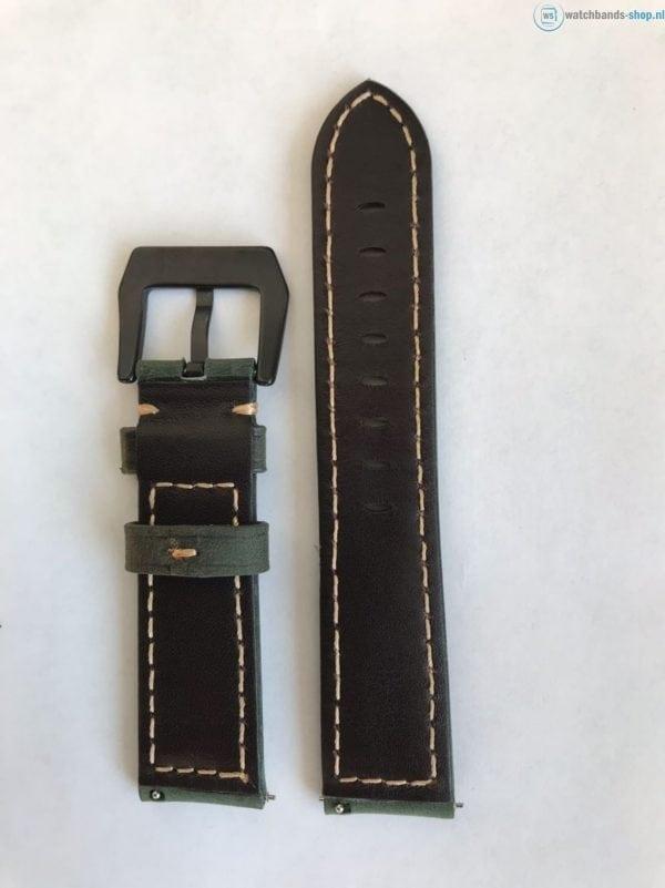 Leren Bandje Voor de Samsung Gear S3 Classic Frontier - Leren Armband Polsband Groen zwarte sluiting-011