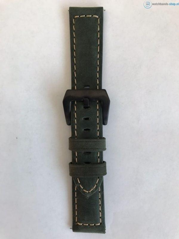 Leren Bandje Voor de Samsung Gear S3 Classic Frontier - Leren Armband Polsband Groen zwarte sluiting-013