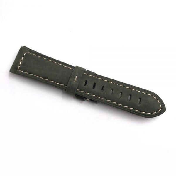 Leren Bandje Voor de Samsung Gear S3 Classic Frontier - Leren Armband Polsband zilveren sluiting groen-001