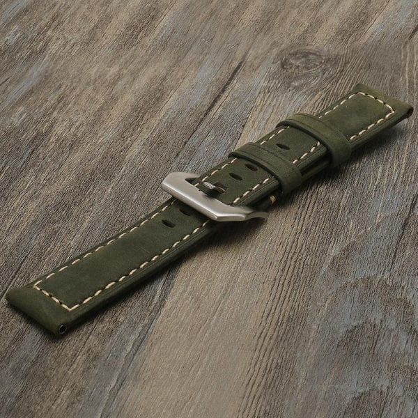 Leren Bandje Voor de Samsung Gear S3 Classic Frontier - Leren Armband Polsband zilveren sluiting groen-003