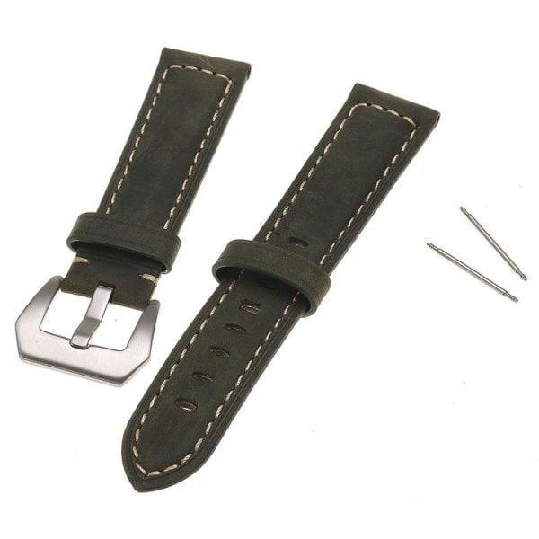 Leren Bandje Voor de Samsung Gear S3 Classic Frontier - Leren Armband Polsband zilveren sluiting groen-004