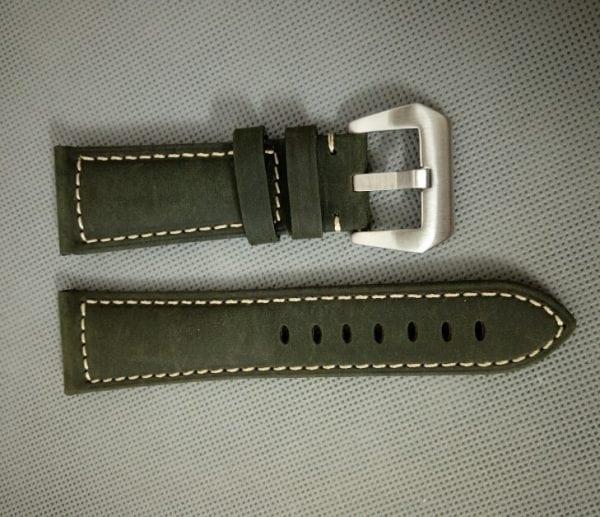 Leren Bandje Voor de Samsung Gear S3 Classic Frontier - Leren Armband Polsband zilveren sluiting groen-005