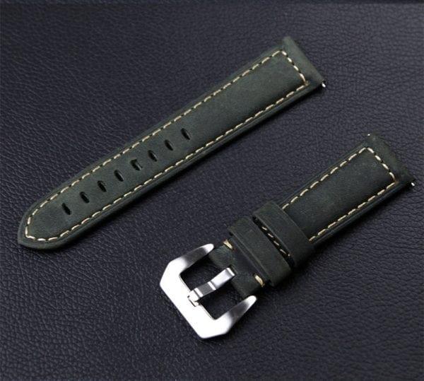 Leren Bandje Voor de Samsung Gear S3 Classic Frontier - Leren Armband Polsband zilveren sluiting groen-006