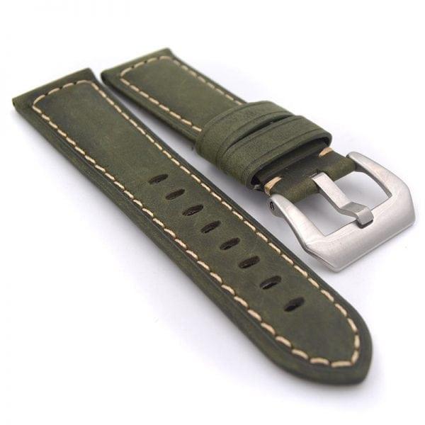 Leren Bandje Voor de Samsung Gear S3 Classic Frontier - Leren Armband Polsband zilveren sluiting groen-007