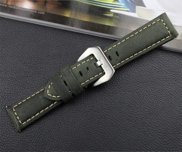 Leren Bandje Voor de Samsung Gear S3 Classic Frontier - Leren Armband Polsband zilveren sluiting groen-010