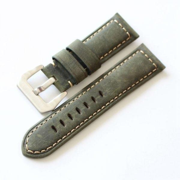 Leren Bandje Voor de Samsung Gear S3 Classic Frontier - Leren Armband Polsband zilveren sluiting groen-011