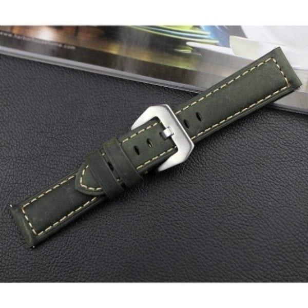 Leren Bandje Voor de Samsung Gear S3 Classic Frontier - Leren Armband Polsband zilveren sluiting groen-014