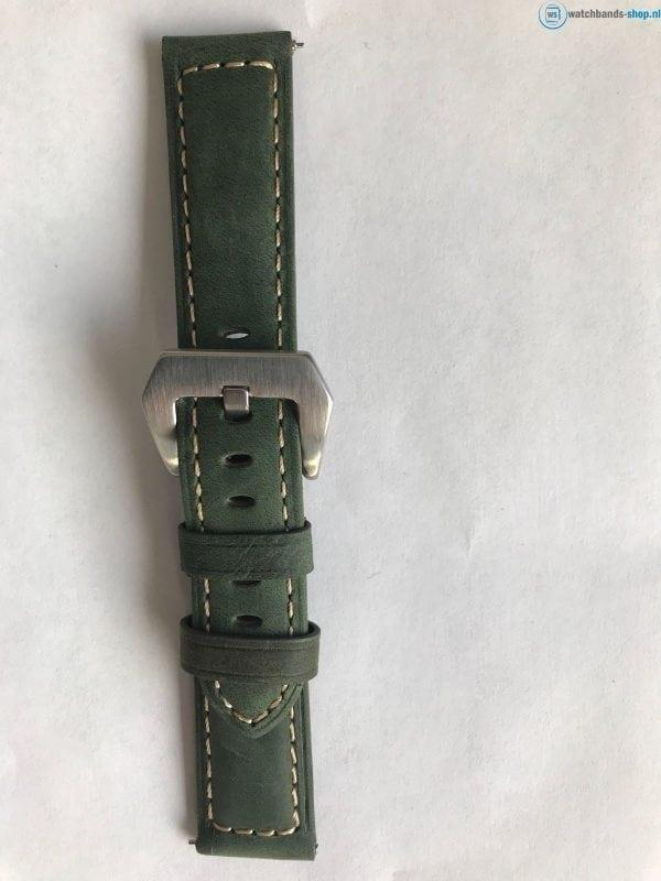 Leren Bandje Voor de Samsung Gear S3 Classic Frontier - Leren Armband Polsband zilveren sluiting groen-015