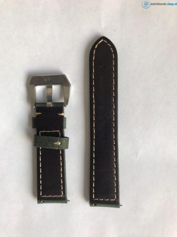 Leren Bandje Voor de Samsung Gear S3 Classic Frontier - Leren Armband Polsband zilveren sluiting groen-019
