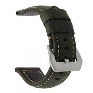Leren Bandje Voor de Samsung Gear S3 / Galaxy watch 46mm SM-R800 - Leren Armband / Polsband / zilveren sluiting / groen