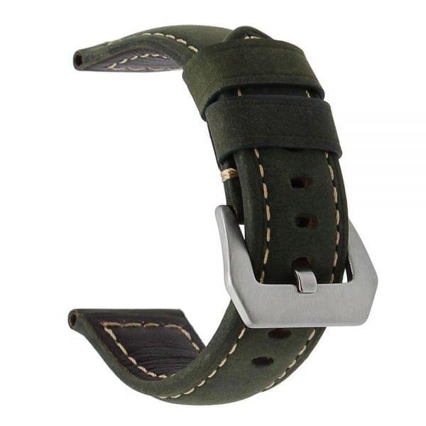 Leren Bandje Voor de Samsung Gear S3 Classic Frontier - Leren Armband Polsband zilveren sluiting groen-020