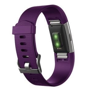 Luxe Siliconen Bandje  large voor FitBit Charge 2 – paars