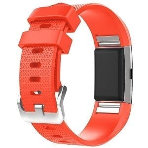 Luxe Siliconen Bandje  large voor FitBit Charge 2 – rood oranje