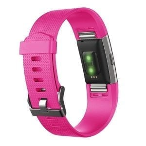 Luxe Siliconen Bandje  large voor FitBit Charge 2 – roze rood