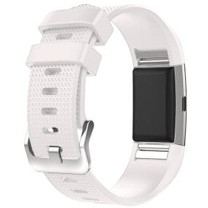 Luxe Siliconen Bandje  large voor FitBit Charge 2 – wit