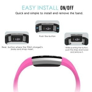 Luxe Siliconen Bandje voor FitBit Charge 2 –roze-001