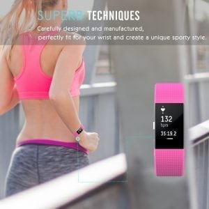 Luxe Siliconen Bandje voor FitBit Charge 2 –roze-006