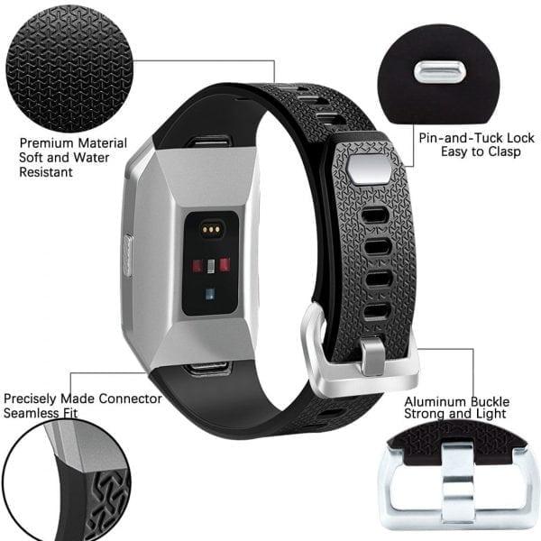 Luxe Siliconen Bandje voor FitBit Ionic – zwart-002