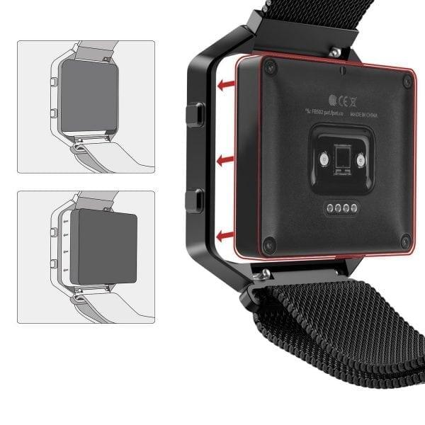 RVS vervangingsframe cover protector voor Fitbit Blaze - zwart-006