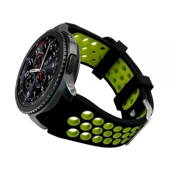 Sportbandje Voor de Samsung Gear S3 Classic Frontier - Siliconen Armband Polsband Strap Band Sportbandje - zwart - geel-009