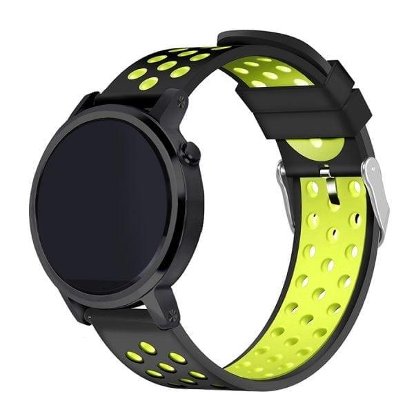 Sportbandje Voor de Samsung Gear S3 Classic Frontier - Siliconen Armband Polsband Strap Band Sportbandje - zwart - geel-011