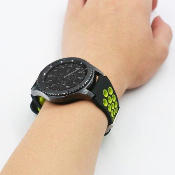 Sportbandje Voor de Samsung Gear S3 Classic Frontier - Siliconen Armband Polsband Strap Band Sportbandje - zwart - geel-012