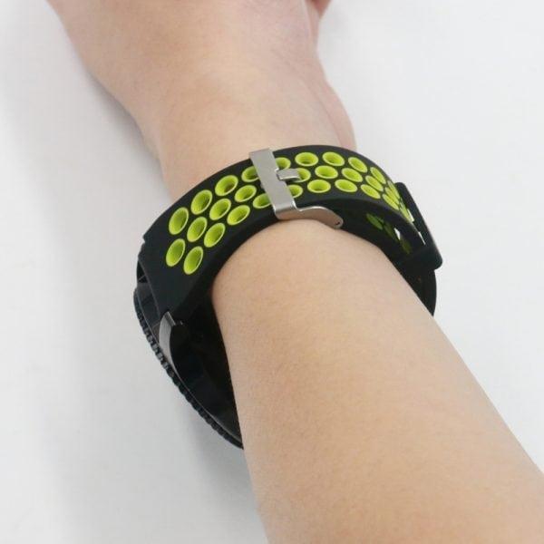 Sportbandje Voor de Samsung Gear S3 Classic Frontier - Siliconen Armband Polsband Strap Band Sportbandje - zwart - geel-013