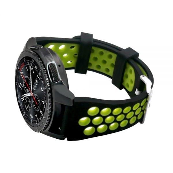 Sportbandje Voor de Samsung Gear S3 Classic Frontier - Siliconen Armband Polsband Strap Band Sportbandje - zwart - geel-014