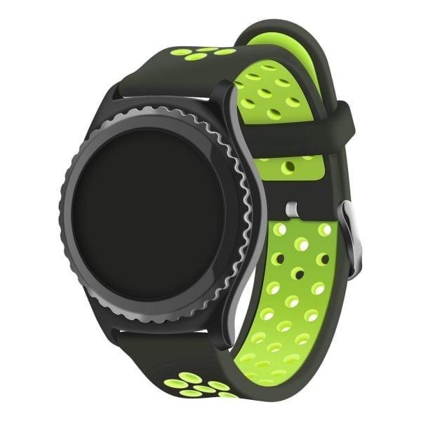 Sportbandje Voor de Samsung Gear S3 Classic Frontier - Siliconen Armband Polsband Strap Band Sportbandje - zwart - geel-019