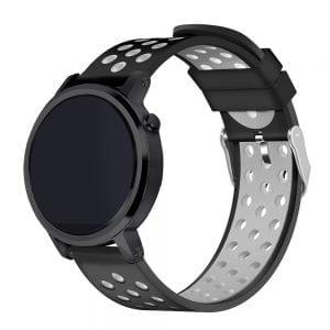 Sportbandje Voor de Samsung Gear S3 Galaxy watch 46mm SM-R800 - Siliconen Armband / Polsband / Strap Band / Sportbandje - zwart - grijs