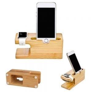 2 in 1 bamboe Apple Watch Standaard / Iphone houder voor Apple Watch/ iPhone 6 / 6 Plus /6s / 6s Plus /7 / 8 / 8 plus / Iphone X