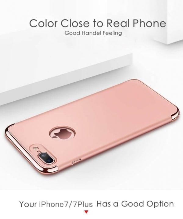 3 in 1 Rose gouden zilveren telefoonhoesje voor iPhone 7 Ultradunne TPU beschermhoes-001