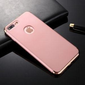 3 in 1 Roze gouden telefoonhoesje voor iPhone 7 Ultradunne TPU beschermhoes