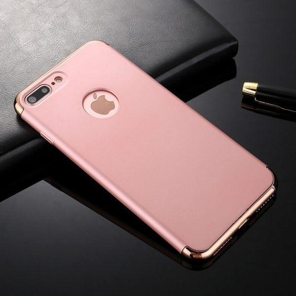 3 in 1 Rose gouden zilveren telefoonhoesje voor iPhone 7 Ultradunne TPU beschermhoes-004