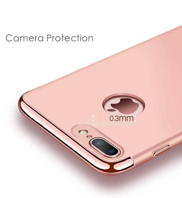 3 in 1 Rose gouden zilveren telefoonhoesje voor iPhone 7 Ultradunne TPU beschermhoes-008