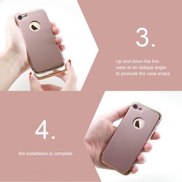 3 in 1 luxe gouden telefoonhoesje voor iPhone 7 Ultradunne TPU beschermhoes-005