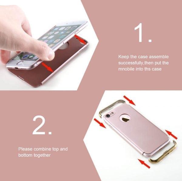 3 in 1 luxe gouden telefoonhoesje voor iPhone 7 Ultradunne TPU beschermhoes-007