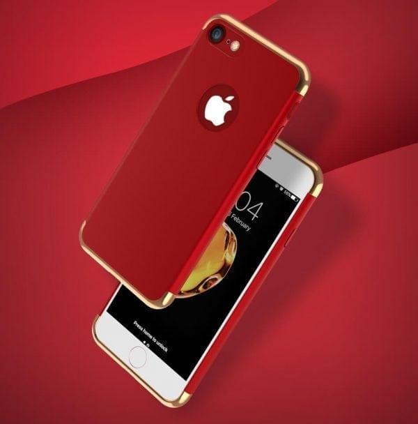 3 in 1 luxe rode telefoonhoesje voor iPhone 7 Ultradunne TPU beschermhoes-001