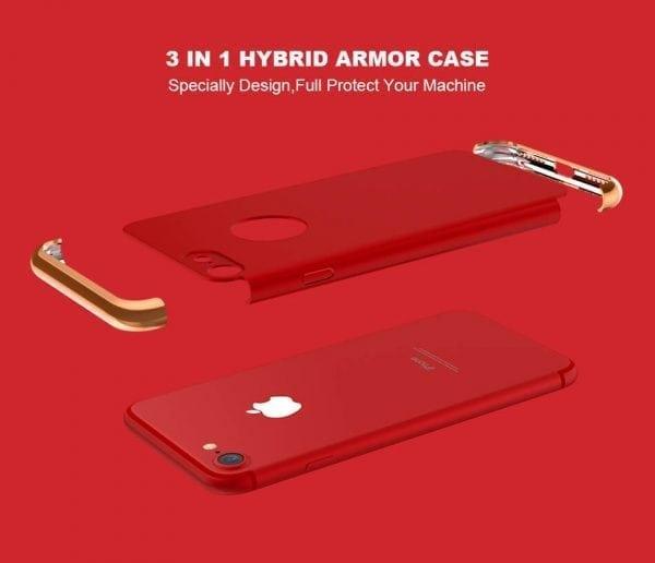 3 in 1 luxe rode telefoonhoesje voor iPhone 7 Ultradunne TPU beschermhoes-004